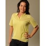 Women's Yellow Tan Through Polo Shirt
